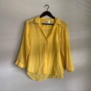 Jams World Yellow 3/4 Sleeve Hawaiian Shirt Large